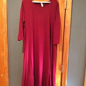 Zenana Premium 3/4 sleeve Dress (red)